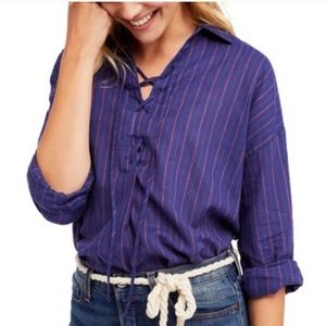 Free People Under the Boardwalk Striped Tunic Top